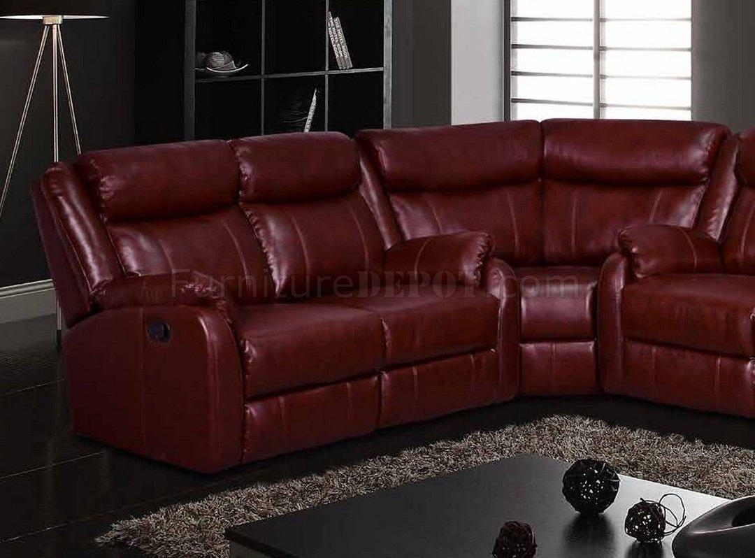 Motion Sectional Sofa In Burgundyglobal Inside Burgundy Sectional Sofas (Image 17 of 20)