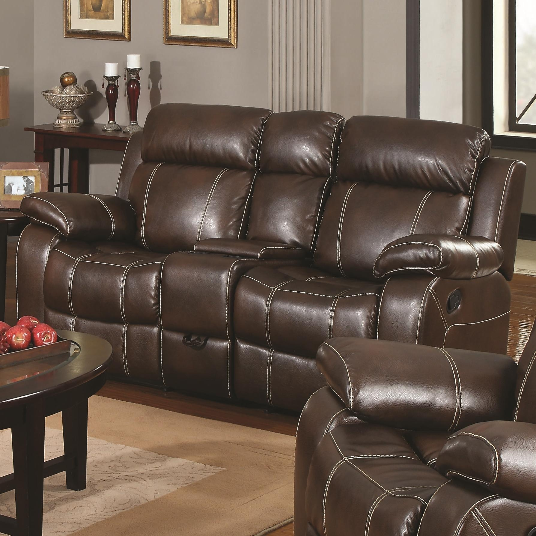 Myleene Collection 603021 Brown Leather Reclining Sofa & Loveseat Set With Regard To Reclining Sofas And Loveseats Sets (Image 10 of 20)
