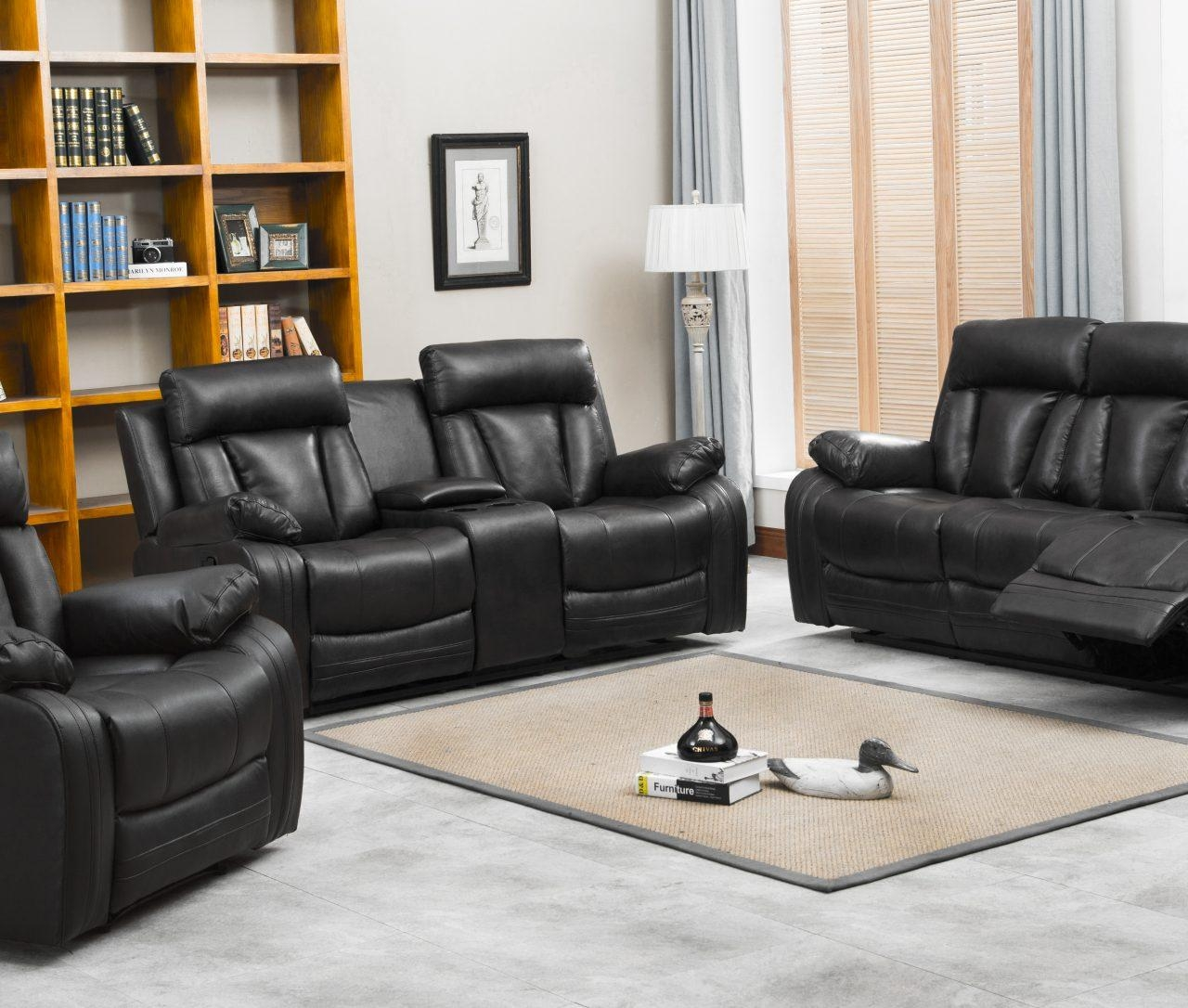 Naples Reclining Sofa & Loveseat W/cupholders And Console Set In Sofa Loveseat And Chair Set (Image 13 of 20)