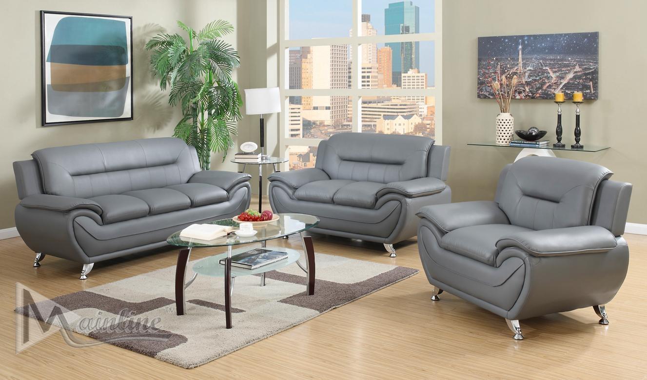 Napoli Gray Sofa 71357 Mainline Inc Leather Sofas At Comfyco Pertaining To Gray Sofas (Image 14 of 20)