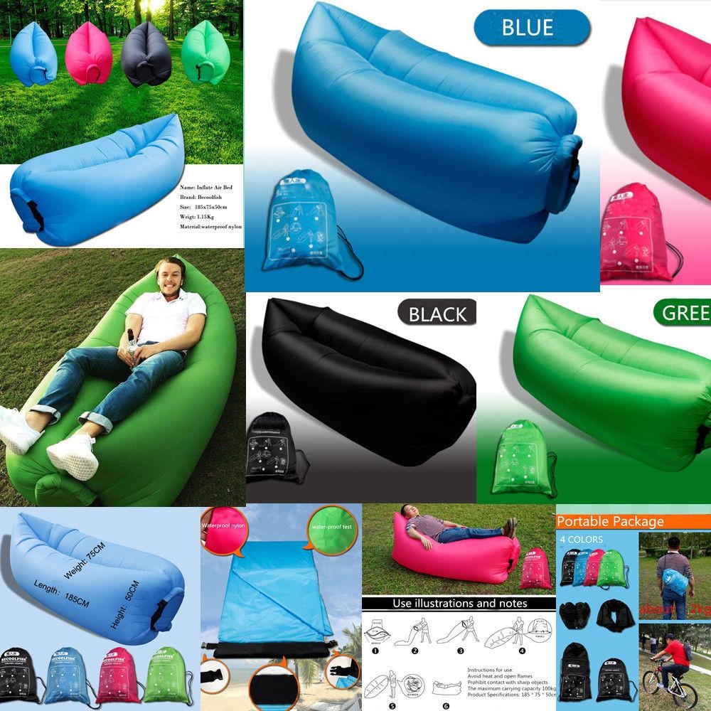 New Arrive Inflatable Air Sleeping Bag Camping Bed Beach Lay Sofa with regard to Sleeping Bag Sofas