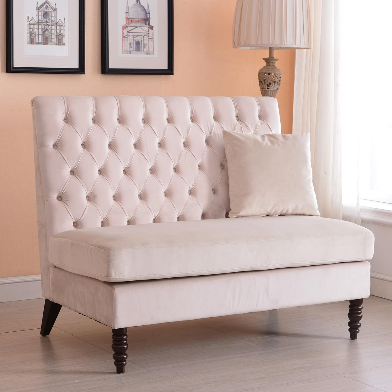 New Modern Tufted Settee Bedroom Bench Sofa High Back Cushion Seat Pertaining To Bench Cushion Sofas (Image 13 of 20)