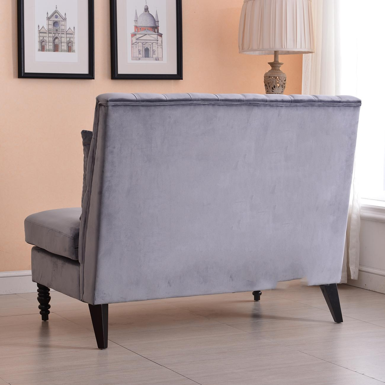 New Modern Tufted Settee Bedroom Bench Sofa High Back Cushion Seat Regarding Bedroom Bench Sofas (Image 17 of 20)