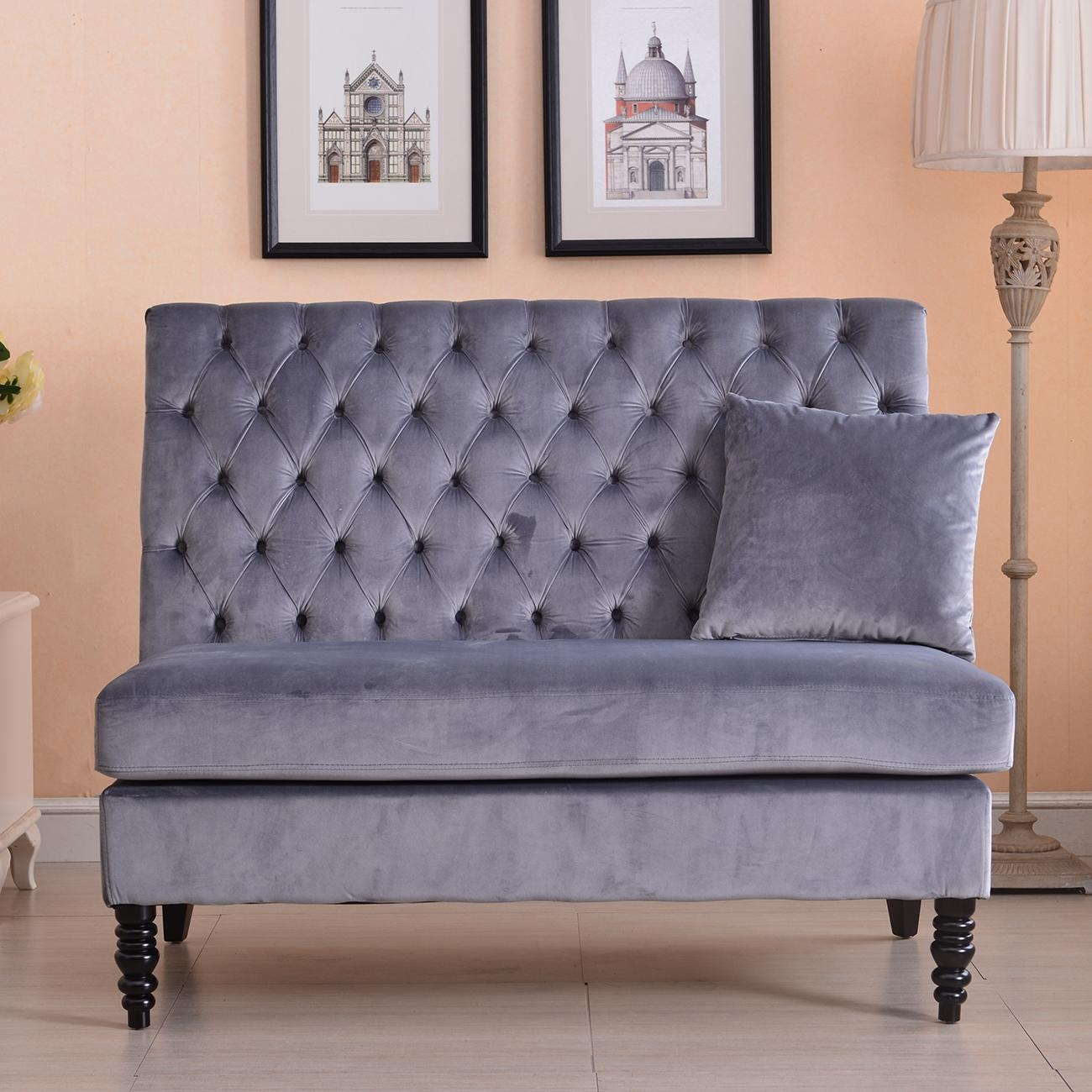 New Modern Tufted Settee Bedroom Bench Sofa High Back Cushion Seat Throughout Bedroom Bench Sofas (Image 18 of 20)