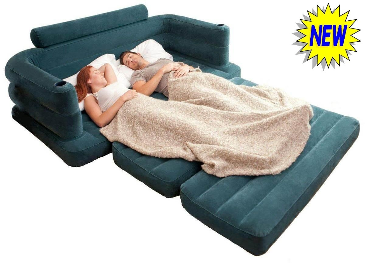New Pull Out Double Sofa Bed Inflatable Pullout Air Sofabed Settee throughout Intex Inflatable Sofas