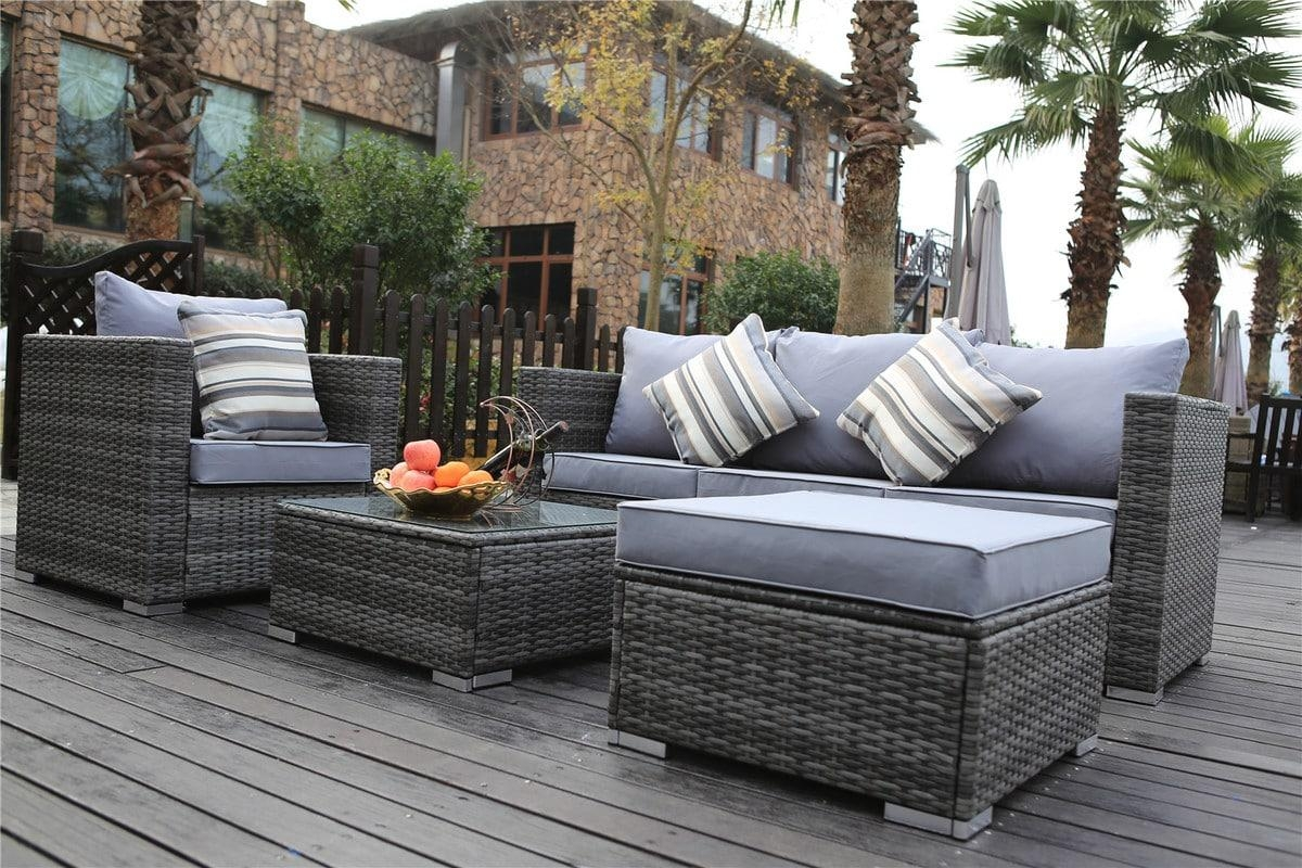 New Rattan Garden Furniture Sofa Table Chairs Grey Patio Pertaining To Sofa Table Chairs (Image 13 of 20)