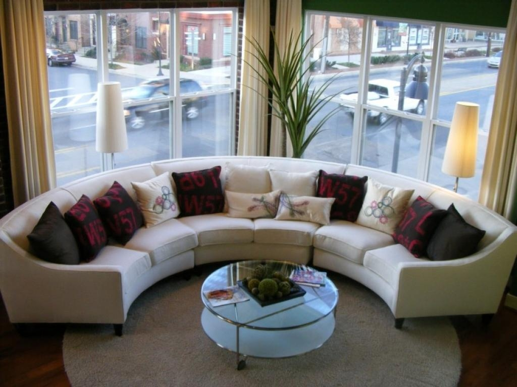 New Small Curved Sectional Sofas Curved White Leather Fabric Couch Pertaining To Circular Sectional Sofa (Image 12 of 15)