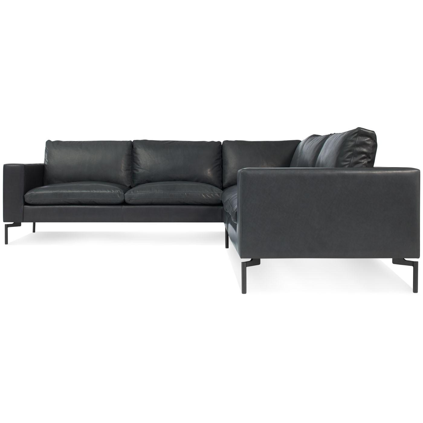New Standard Small Leather Sectional – Modern Leather Sofa | Blu Dot within Modern Small Sectional Sofas