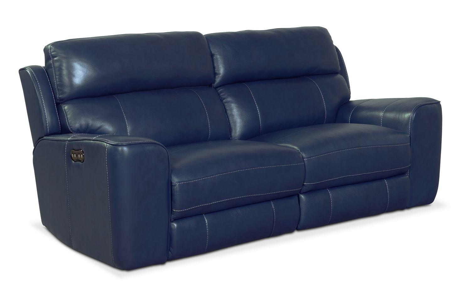 Newport 2 Piece Power Reclining Sofa – Blue | Value City Furniture Pertaining To Newport Sofas (View 4 of 20)