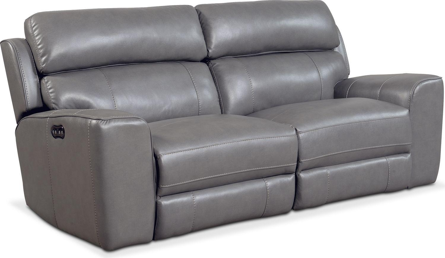 Newport 2 Piece Power Reclining Sofa – Gray | Value City Furniture Pertaining To Newport Sofas (Image 9 of 20)
