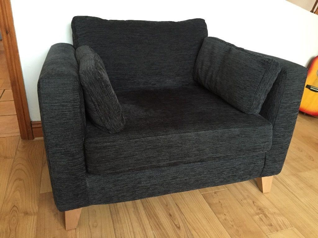 Next Dark Grey Black Fabric 2 Seater Cuddle Chair Love Seat Pertaining To Snuggle Sofas (View 6 of 20)