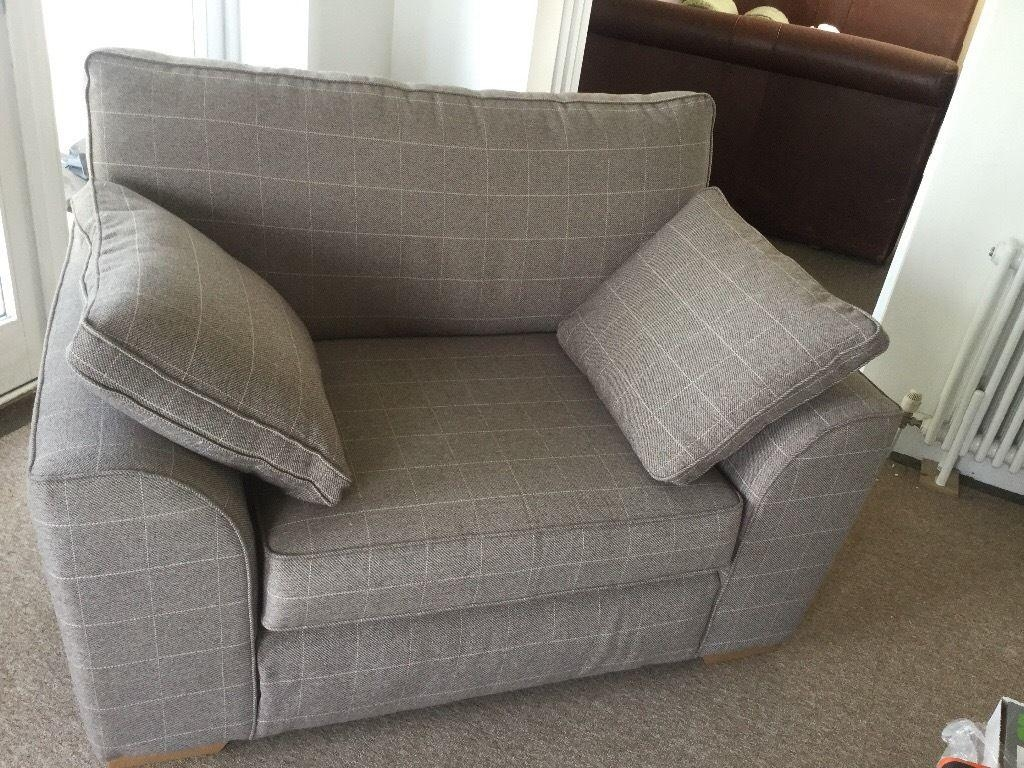 Next – Snuggle Chair, Small Sofa – Hardly Used – Stone/ivory Check In Snuggle Sofas (Image 11 of 20)