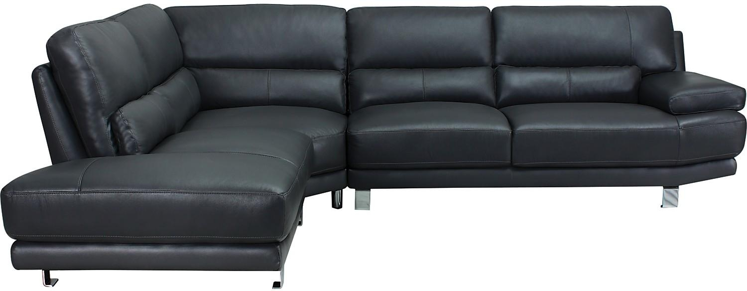 Nico 3 Piece Genuine Leather Left Facing Sectional – Grey | The Brick In The Brick Leather Sofa (View 18 of 20)