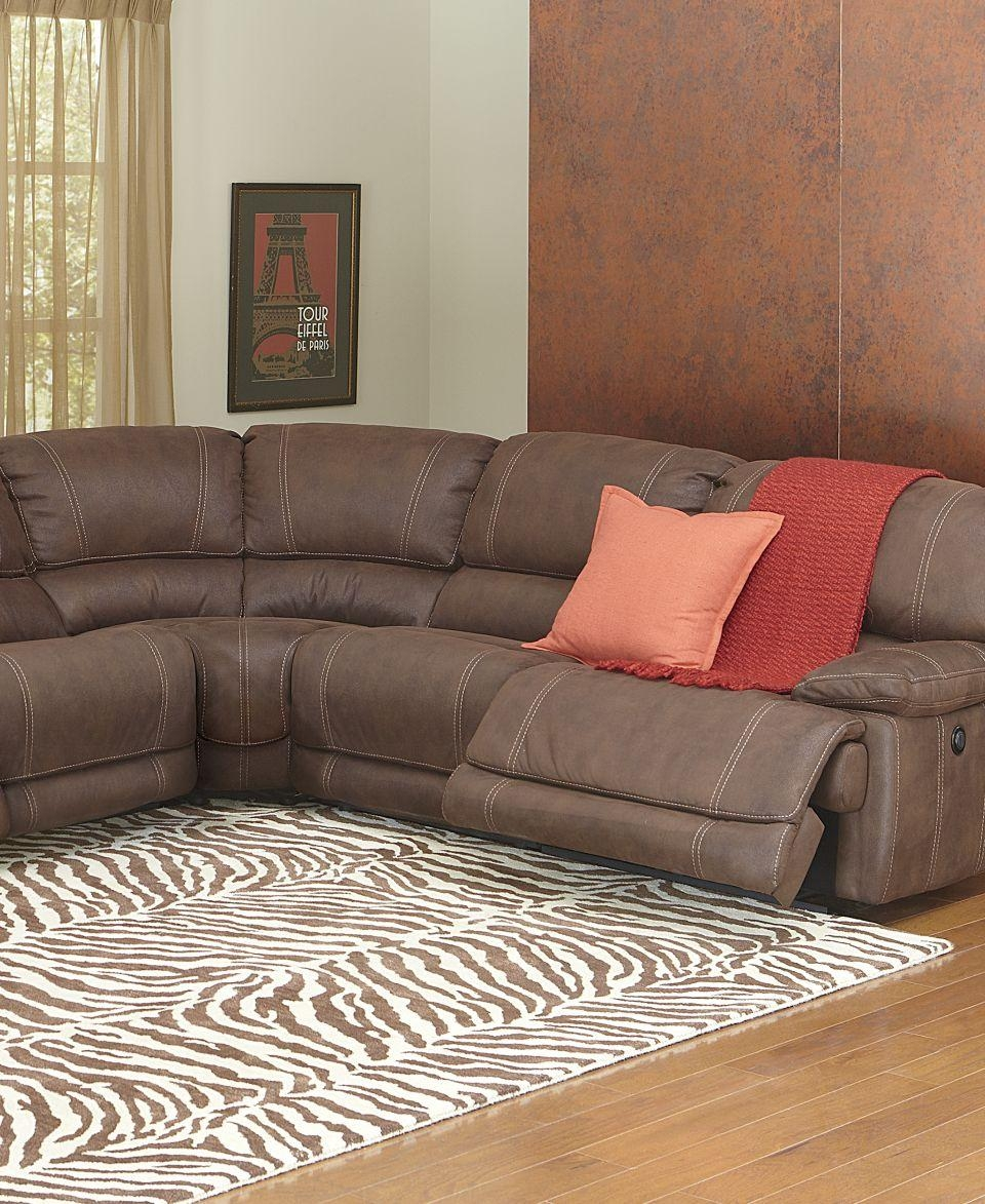 Nina Leather Sectional Living Room Furniture Collection Power within Jedd Fabric Reclining Sectional Sofa