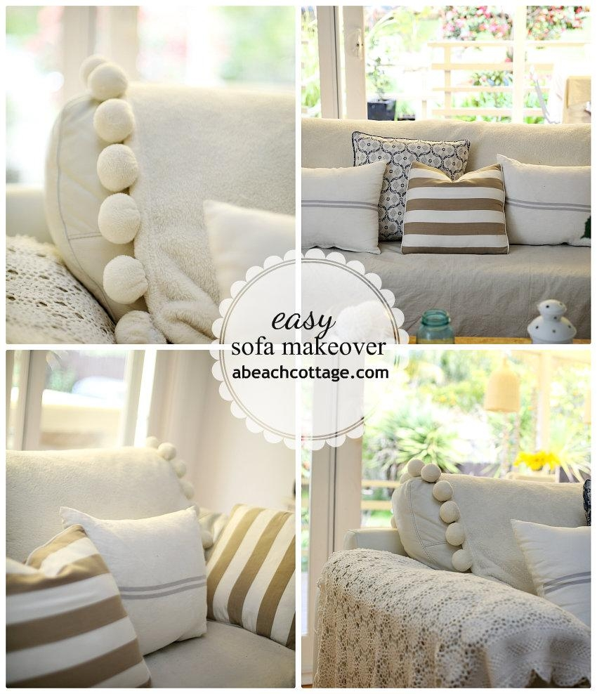 No Sew Sofa Makeover How To Cover A Sofa With Fabric / Drop Cloth Pertaining To Canvas Sofa Slipcovers (Image 14 of 20)