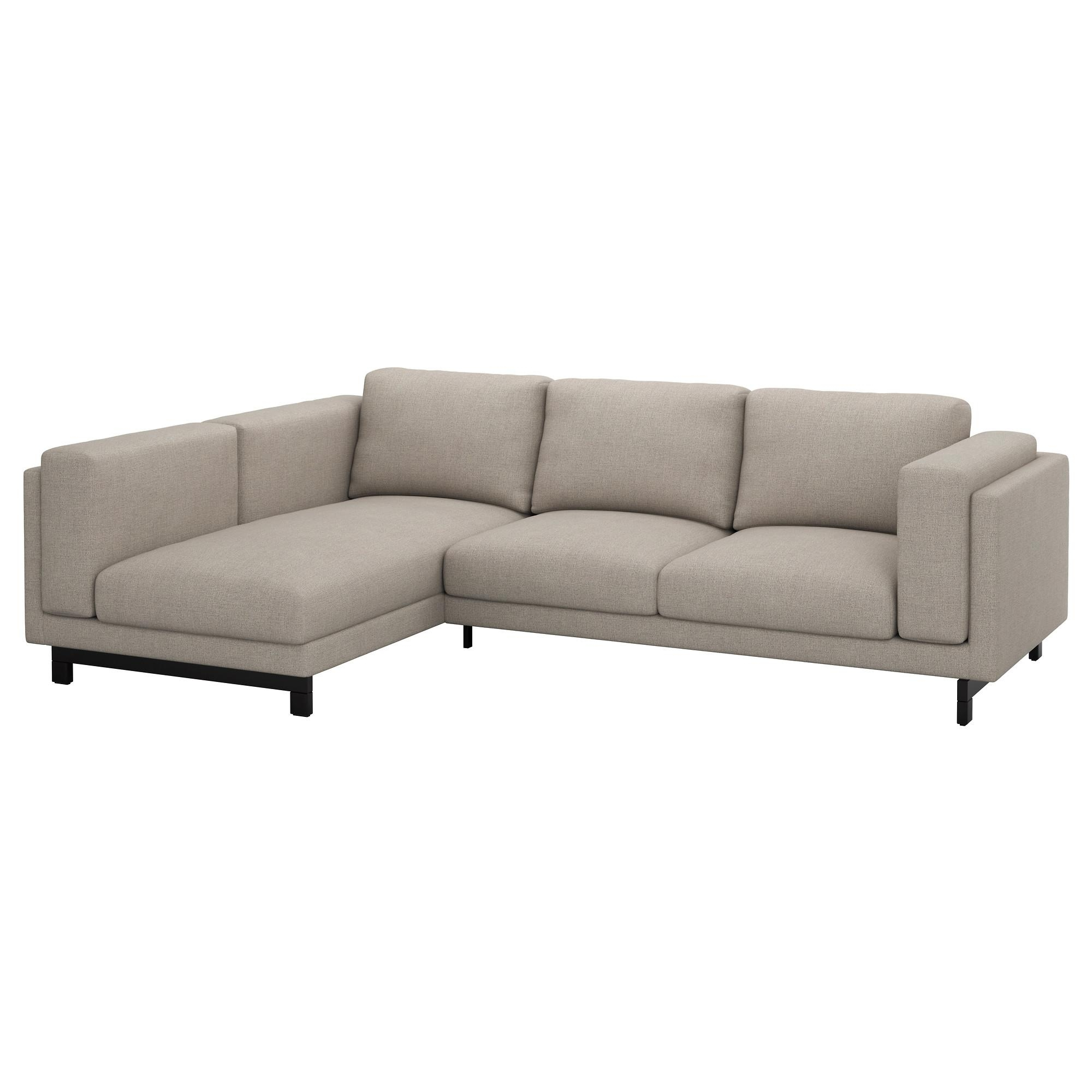 Nockeby Two-Seat Sofa W Chaise Longue Left Tenö Light Grey/wood - Ikea throughout Ikea Two Seater Sofas