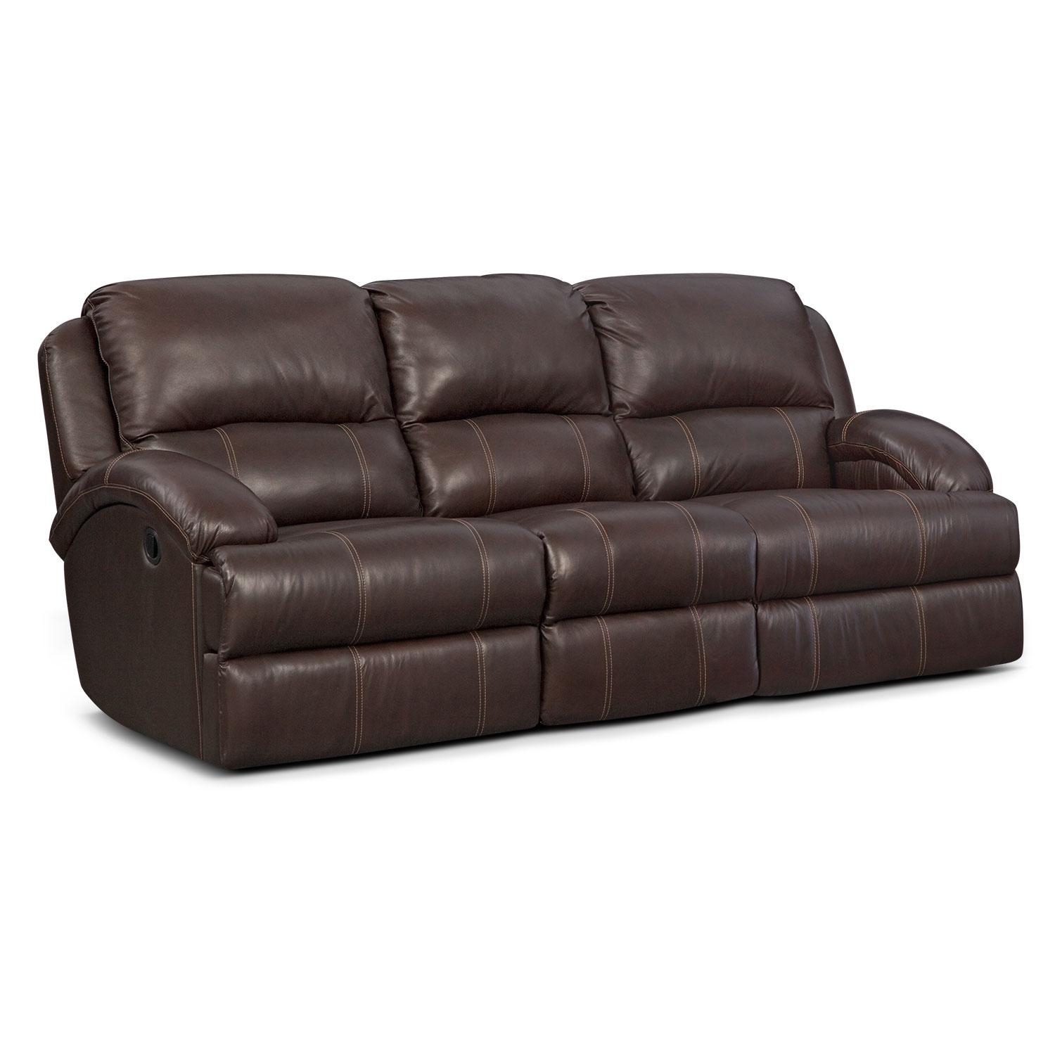 Nolan Dual Reclining Sofa – Chocolate | American Signature Furniture Inside Recliner Sofa Chairs (Image 18 of 20)