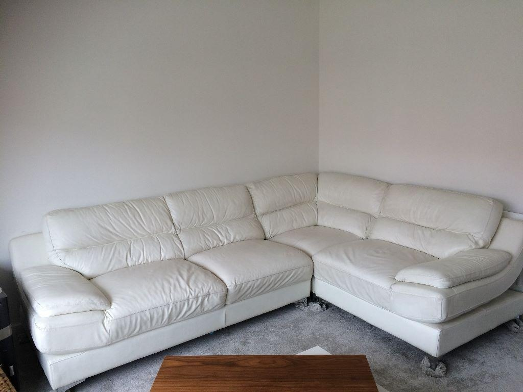 Off White Leather Corner Sofa From Sofology | In Laindon, Essex Inside White Leather Corner Sofa (Image 14 of 20)