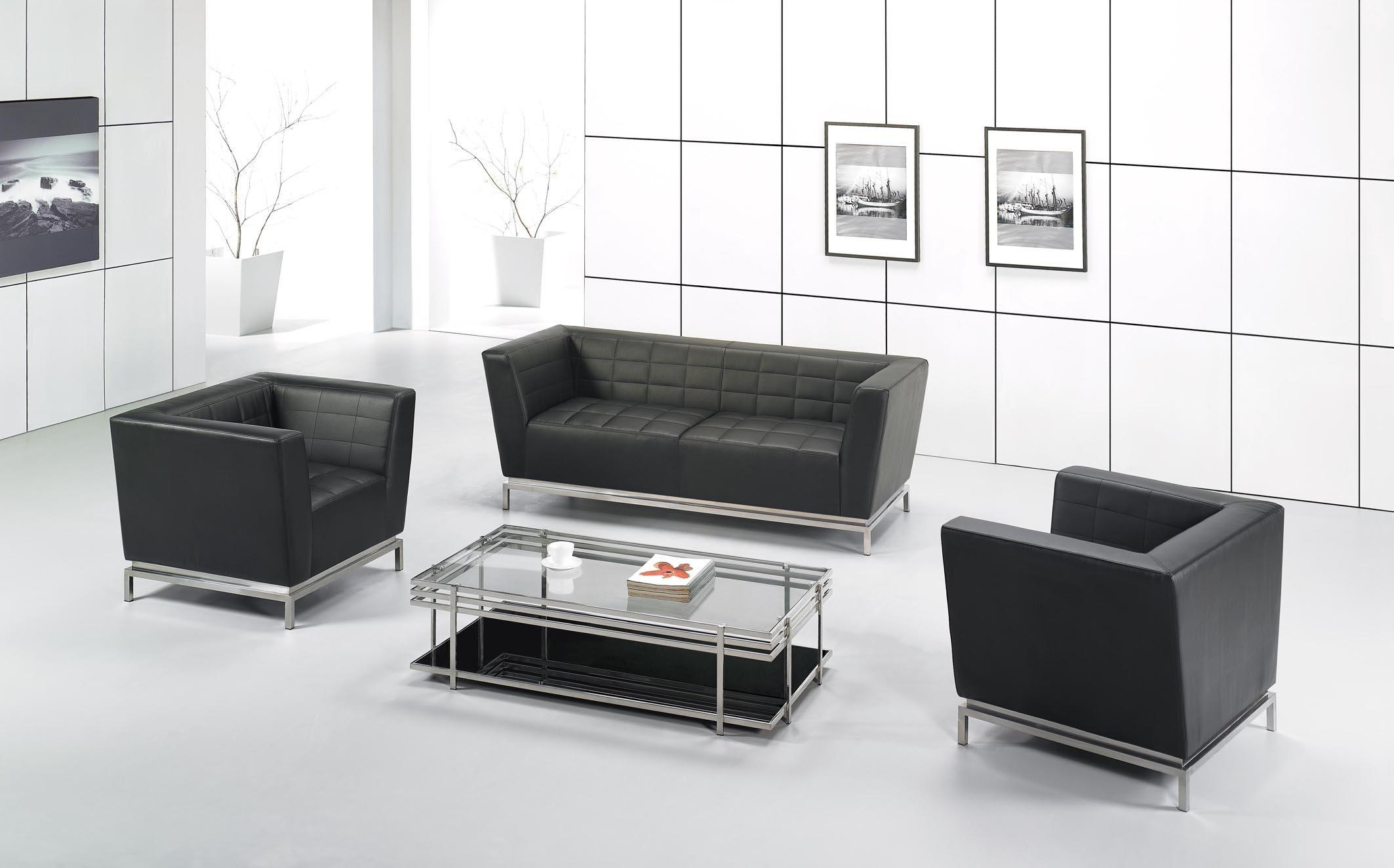 Office Reception Chairs Leather Black Leather Office Guest Chair Pertaining To Office Sofas And Chairs (View 11 of 20)