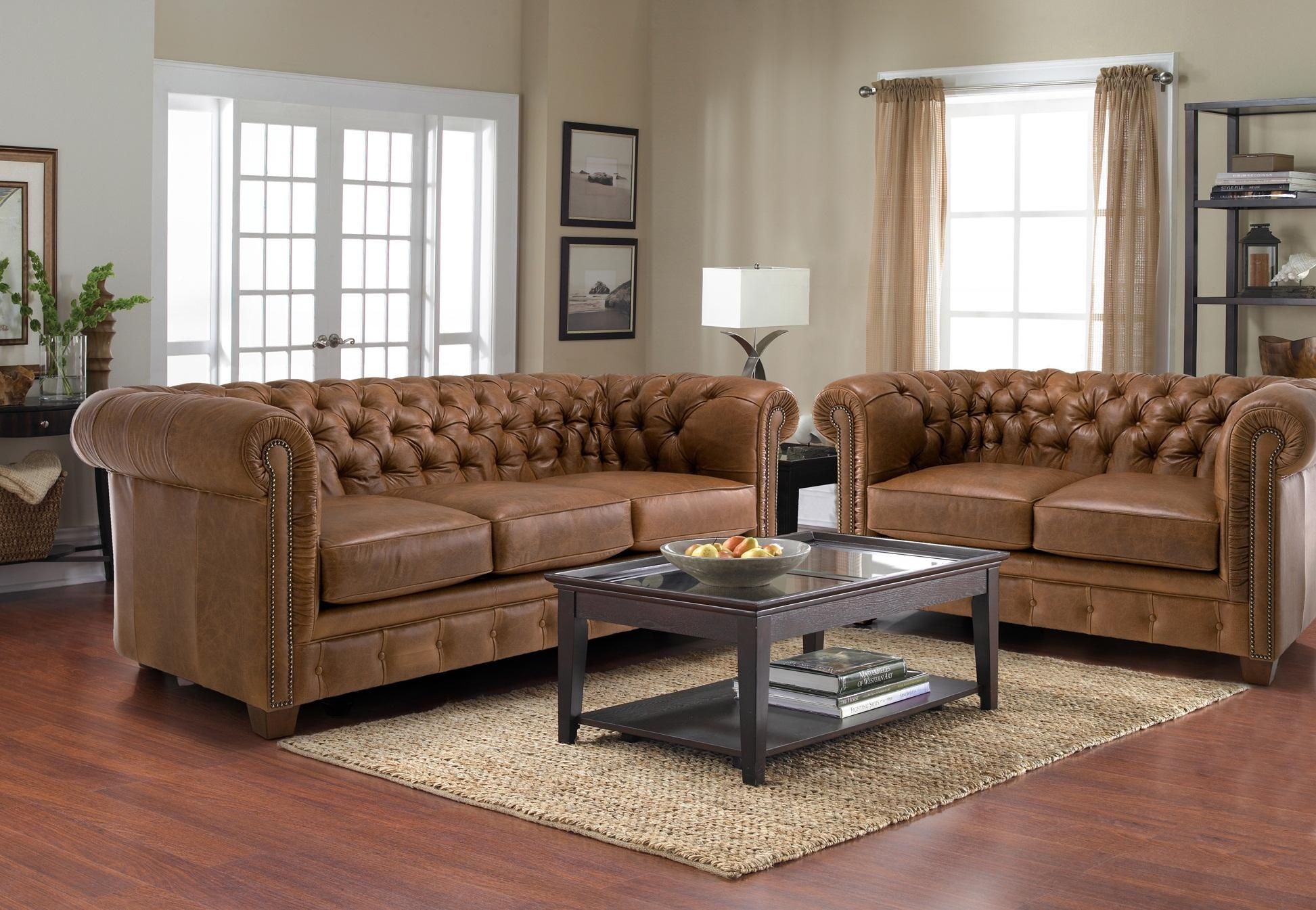 Old And Vintage Brown Leather Tufted Sofa With 2 And 3 Cushions In Inside Brown Leather Tufted Sofas (Image 13 of 20)
