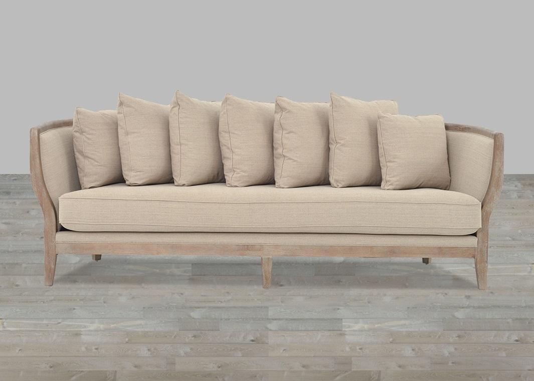One Cushion Sofa Beige Linen Whitewash Legs For One Cushion Sofas (Image 8 of 20)