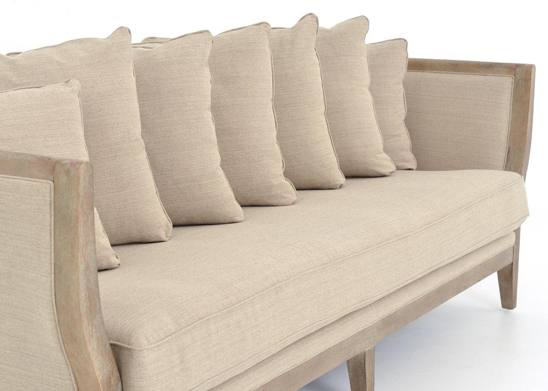 One Cushion Sofa Gray Linen Whitewash Legs With Regard To One Cushion Sofas (Image 9 of 20)