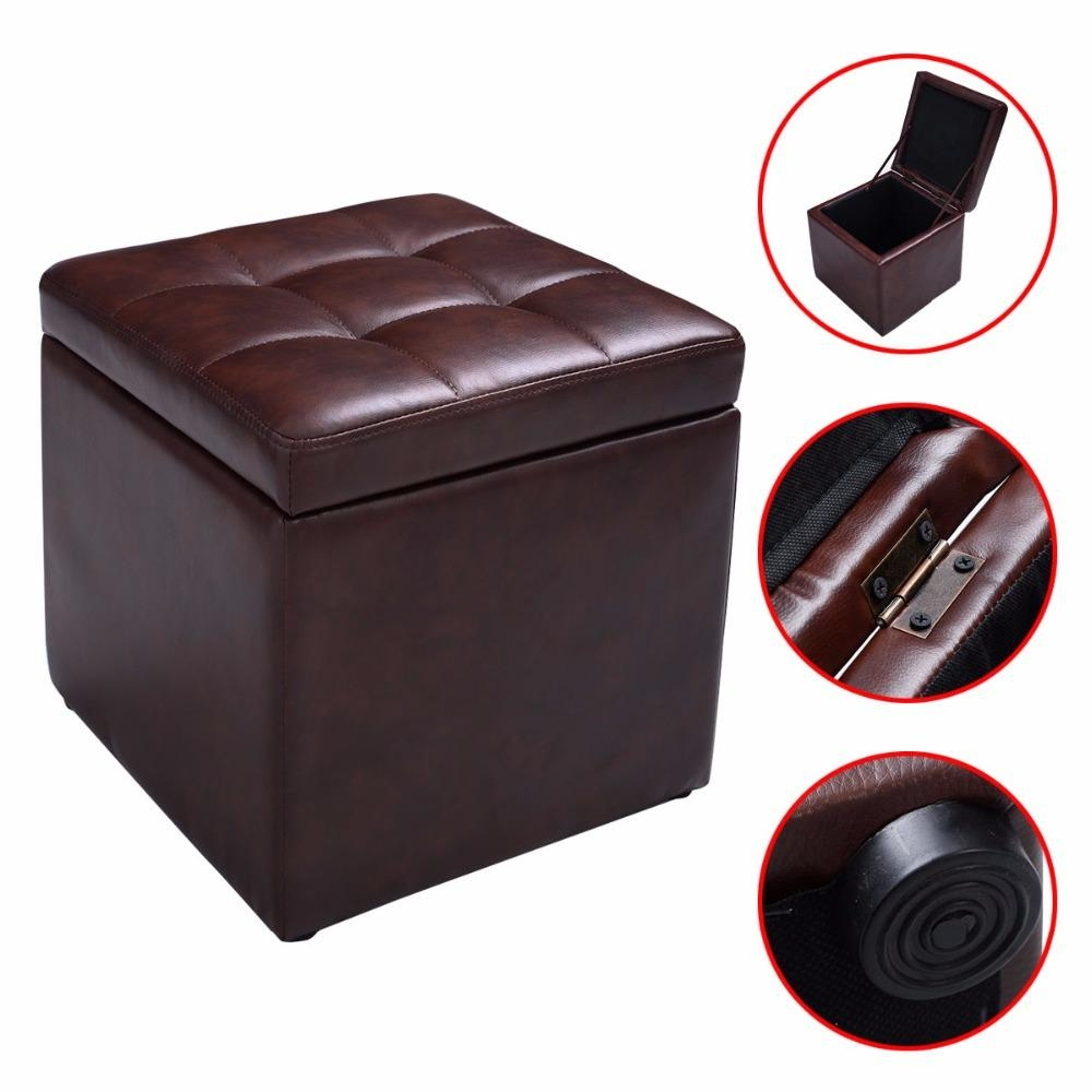 Online Get Cheap Leather Footstool Aliexpress | Alibaba Group With Regard To Footstool Pouffe Sofa Folding Bed (View 4 of 20)