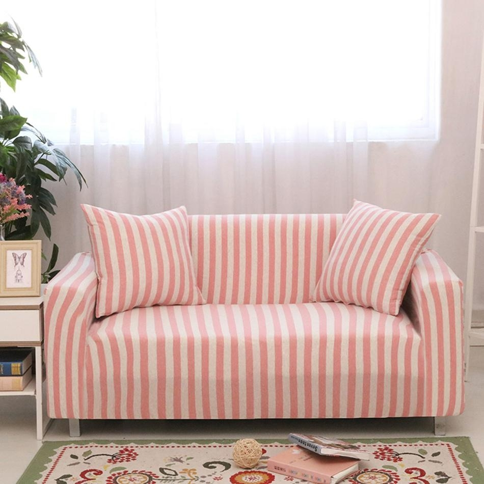 Online Get Cheap Pink Sofa Slipcover  Aliexpress | Alibaba Group Within Striped Sofa Slipcovers (Image 9 of 20)