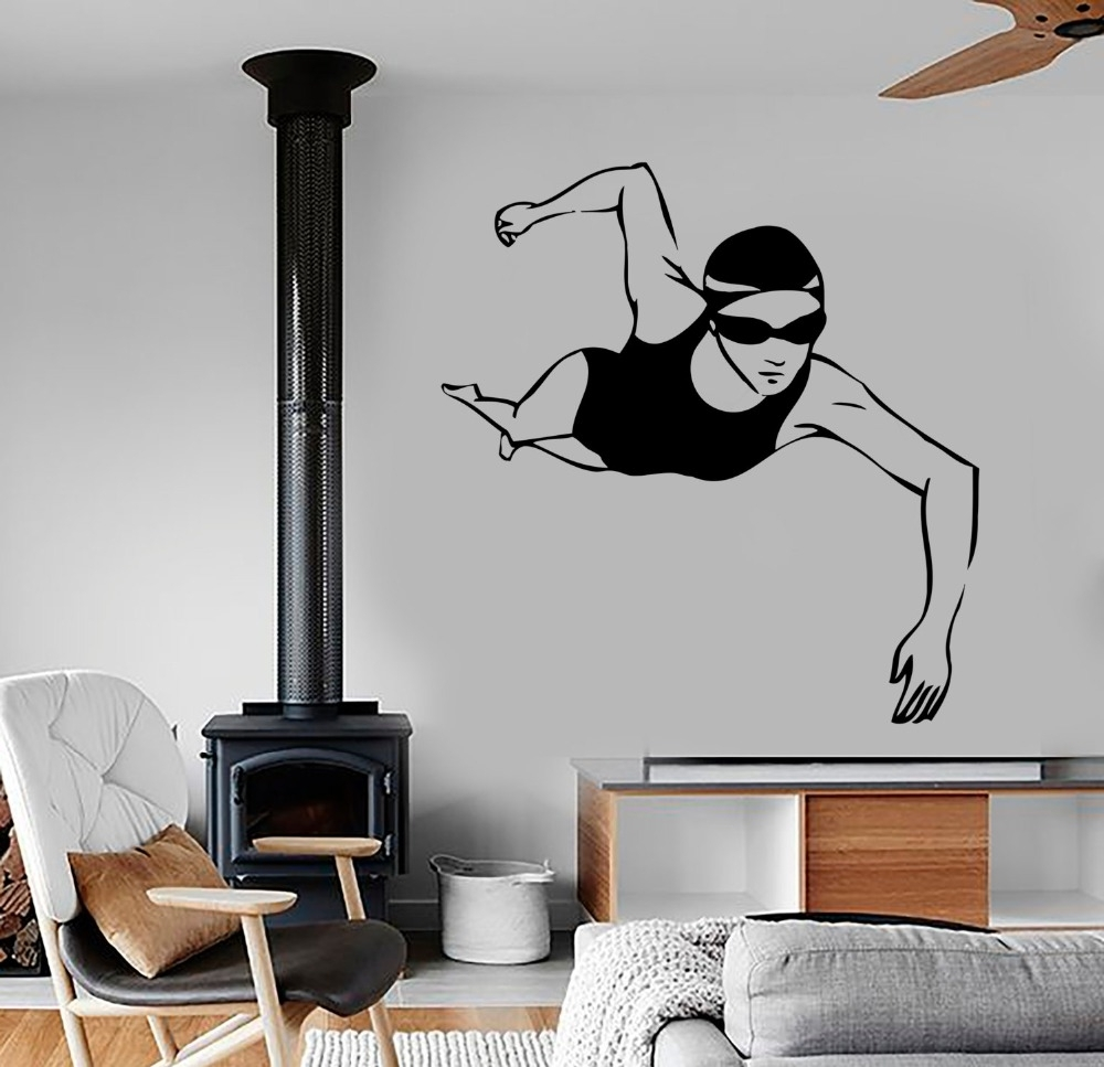 Online Get Cheap Sports Wall Stickers Swimming  Aliexpress With Sports Wall Decals Bring Inspiration To Your Boy's Bedroom (Image 5 of 9)
