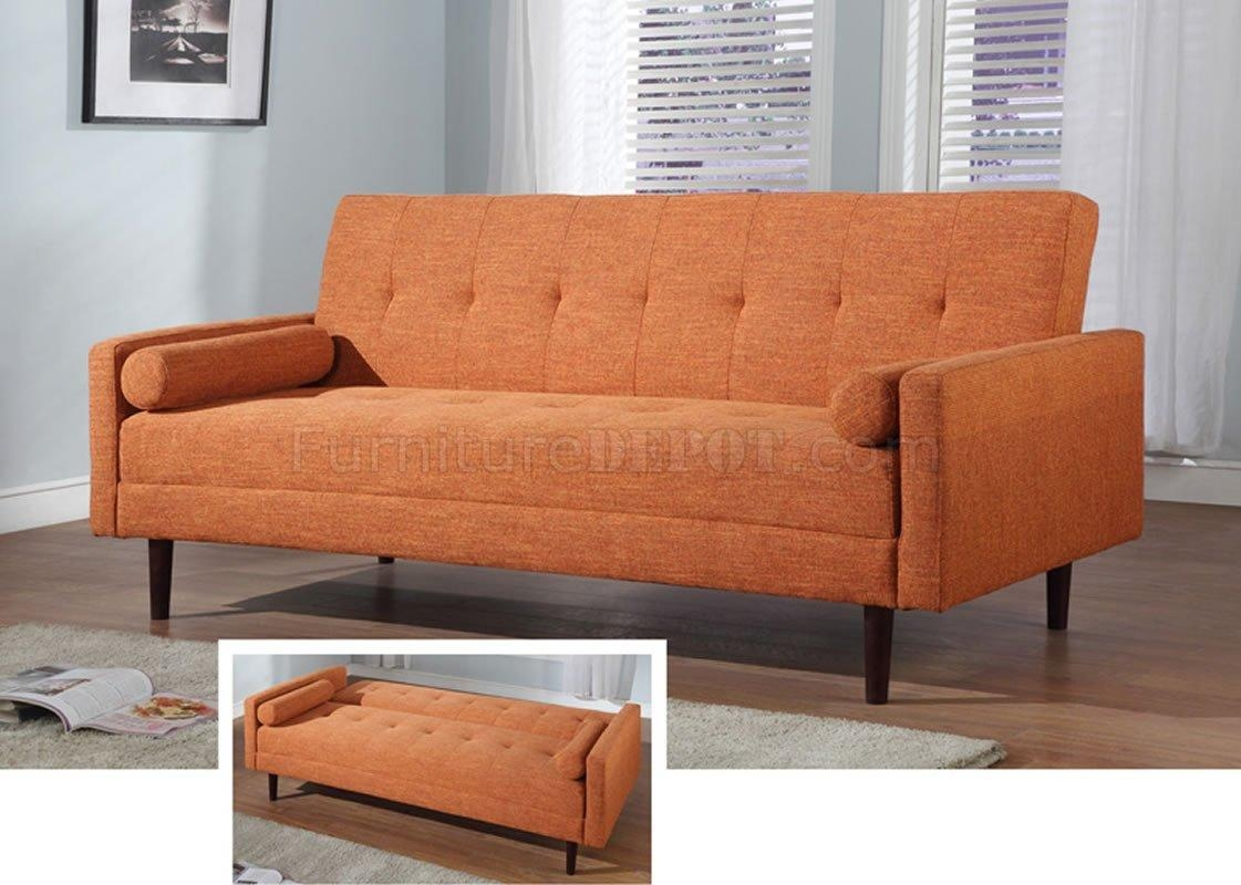 Orange Fabric Contemporary Sofa Bed Convertiblecontemporary Fabric For Orange Modern Sofas (Image 15 of 20)
