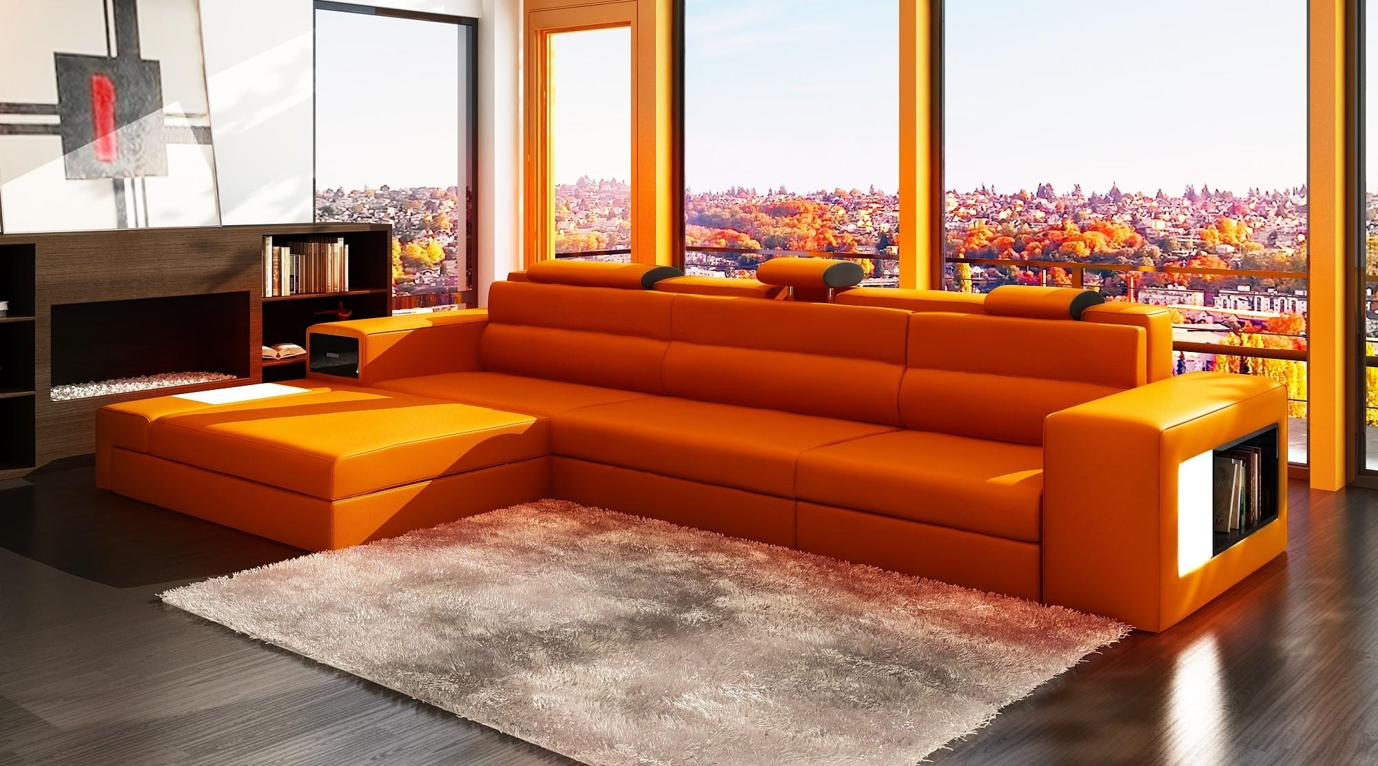 Orange Leather Sofa | Tehranmix Decoration With Regard To Burnt Orange Leather Sofas (Image 6 of 20)