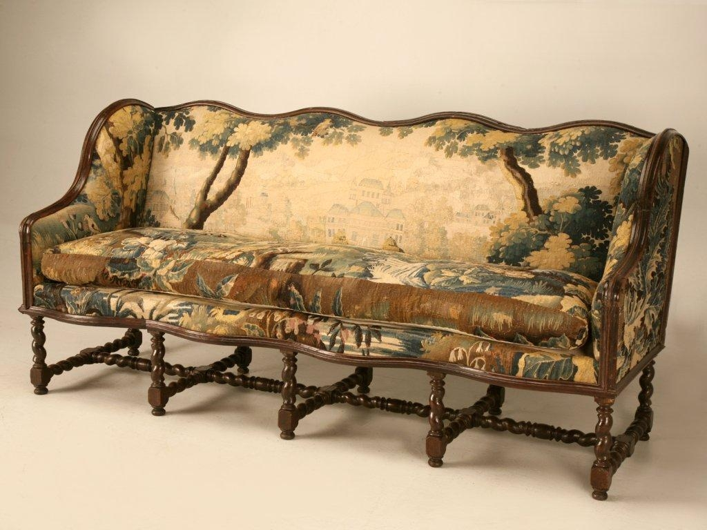 Original Antique French Louis Xiii Sofa With Earlier Aubusson Within French Style Sofas (Image 14 of 20)