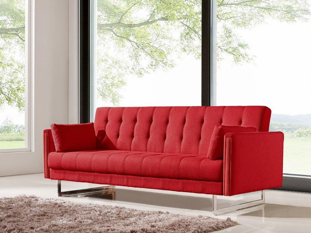 Orren Ellis Cana Wood Frame Sleeper Sofa & Reviews | Wayfair With Red Sleeper Sofa (Image 11 of 20)