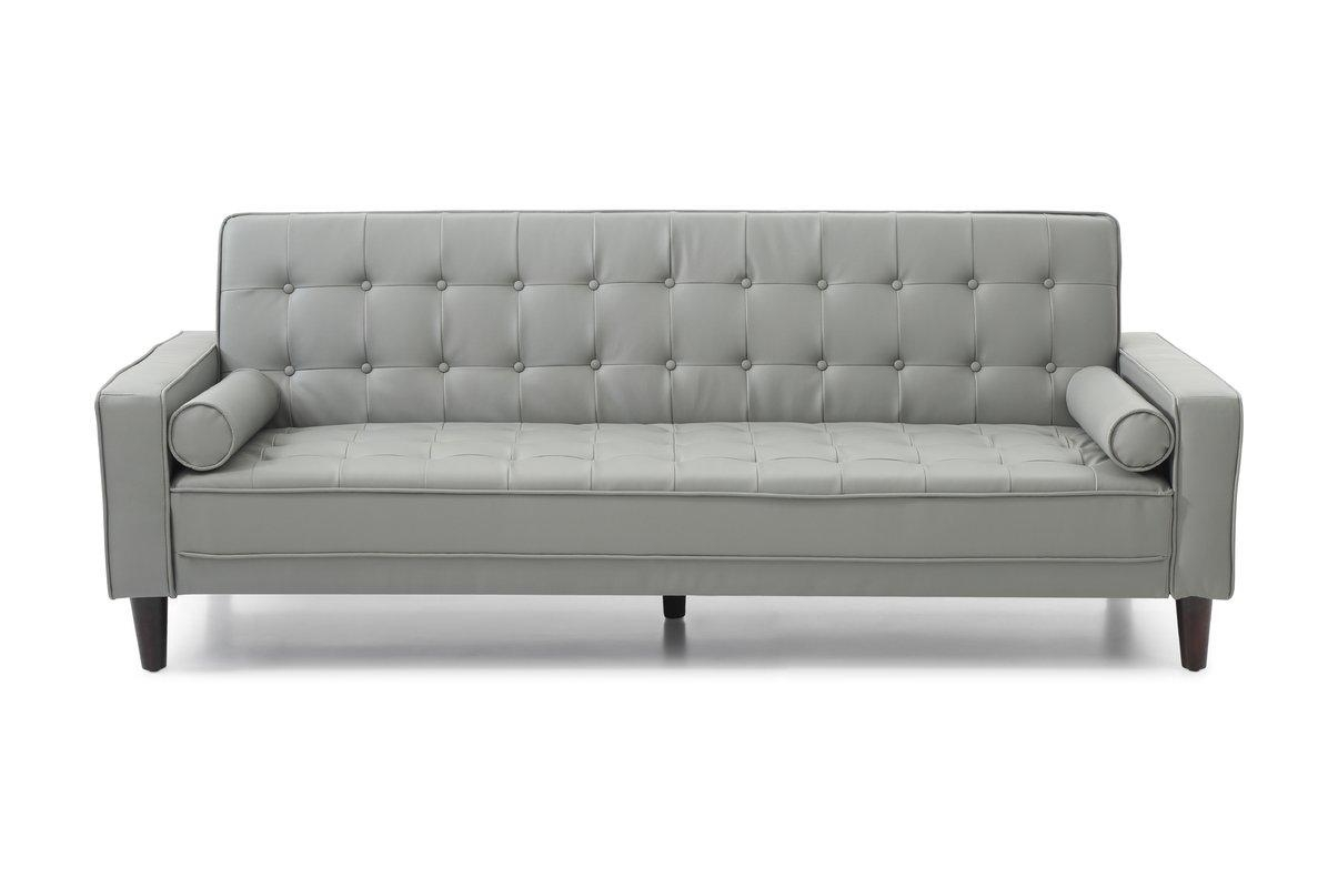 Orren Ellis Laurence Faux Leather Sleeper Sofa & Reviews | Wayfair Pertaining To Faux Leather Sleeper Sofas (Image 10 of 20)