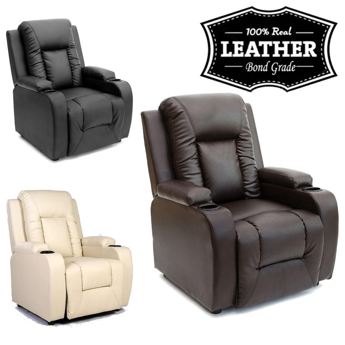 Oscar Leather Recliner W Drink Holders Armchair Sofa Chair Throughout Sofa Chair Recliner (Image 14 of 20)