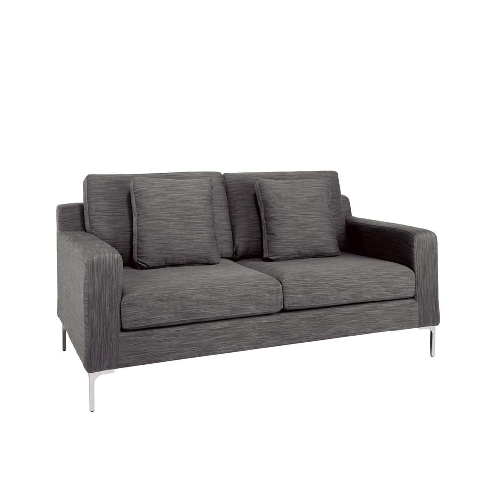 Oslo Two Seater Sofa Grey Fabric – Dwell Inside Two Seater Sofas (Image 15 of 20)