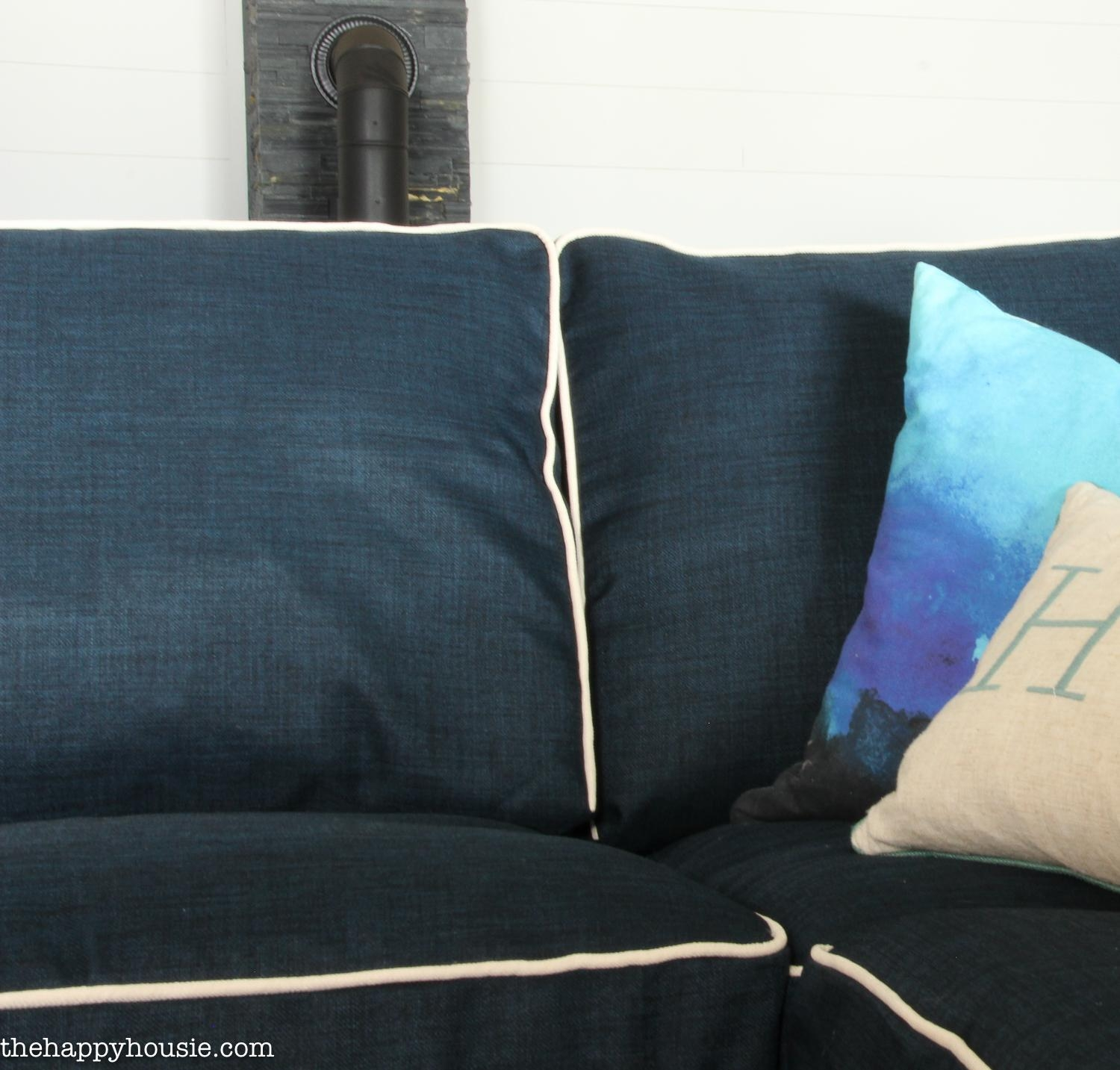 Our New Customized Ikea Ektorp Sofa Replacement Slipcover | The For Navy Blue Slipcovers (Image 17 of 20)