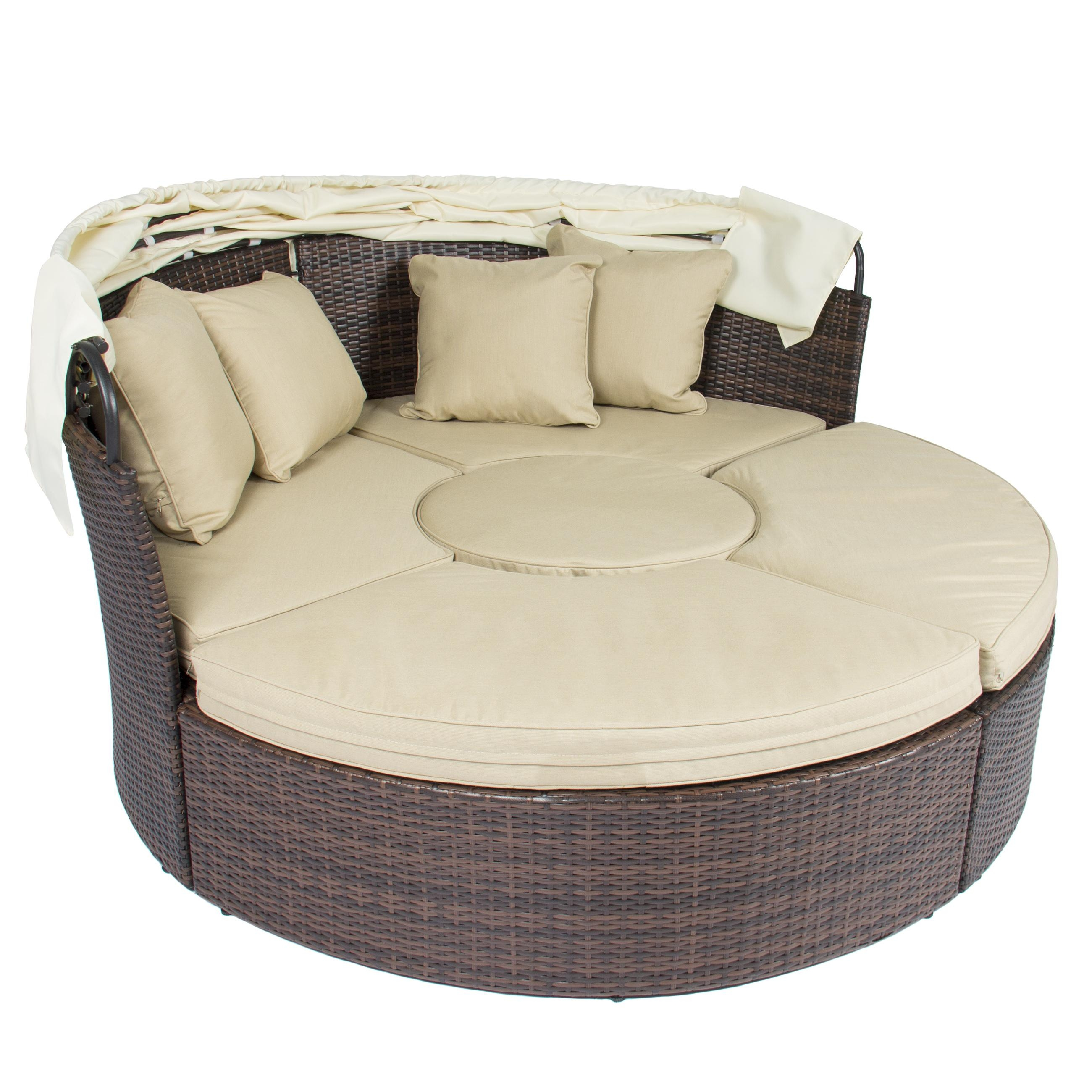 Outdoor Patio Sofa Furniture Round Retractable Canopy Daybed Brown For Circle Sofa Chairs (View 11 of 20)
