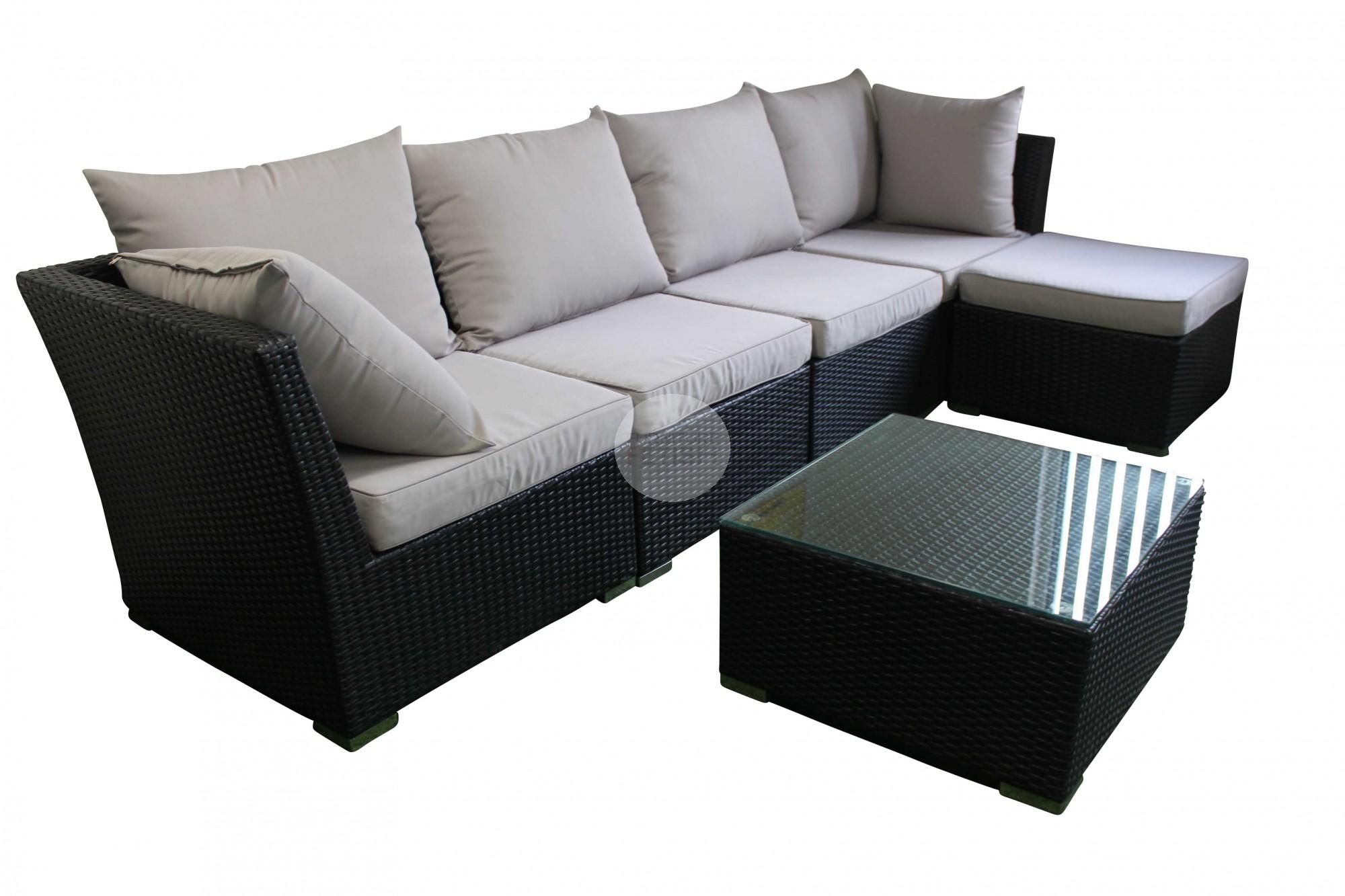Outdoor Sofa Lounge With Chaise & Coffee Table – Rattan Wicker Regarding Black Wicker Sofas (Image 17 of 20)