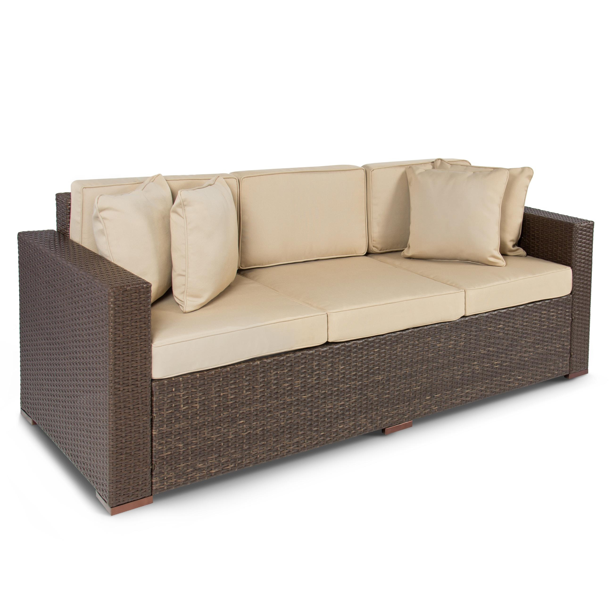 Outdoor Wicker Patio Furniture Sofa 3 Seater Luxury Comfort Brown Regarding Comfortable Sofas And Chairs (Image 11 of 20)