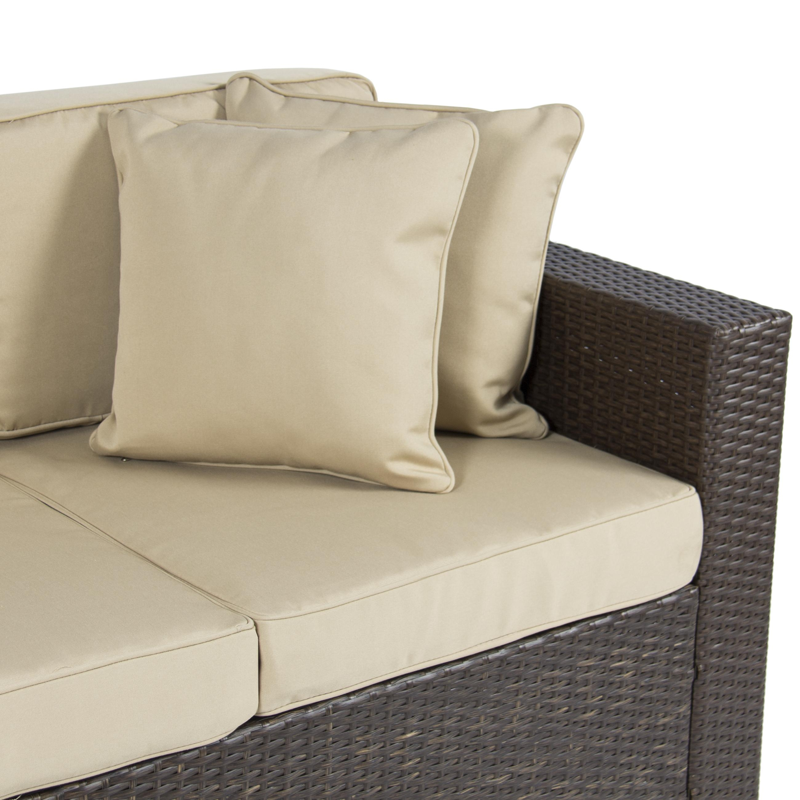 Outdoor Wicker Patio Furniture Sofa 3 Seater Luxury Comfort Brown With Comfortable Sofas And Chairs (Image 12 of 20)