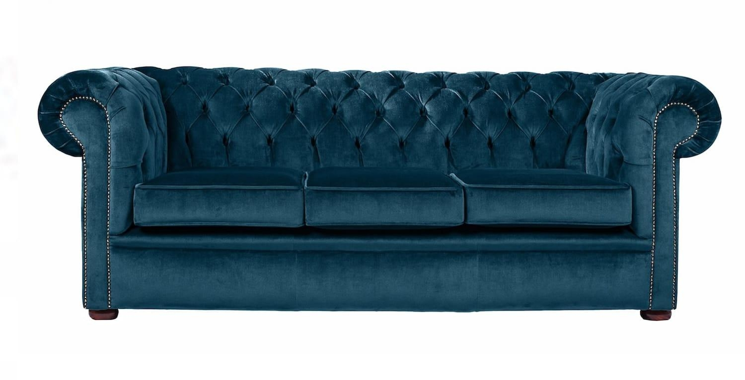 Padstow Blue Velvet Chesterfield Sofa (View 6 of 20)