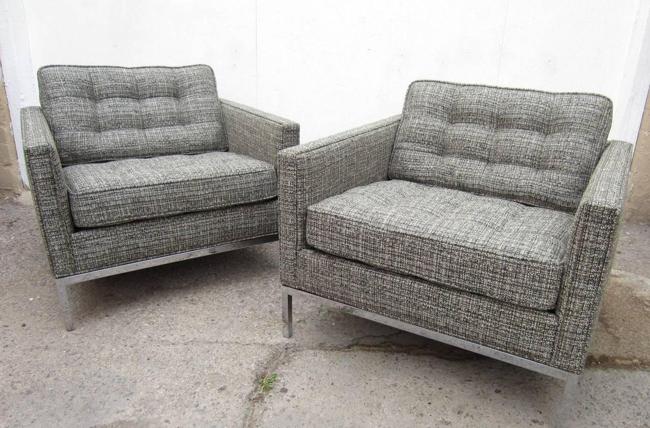 Pair Of Mid Century Modern Florence Knoll Club Chairs For Sale At With Florence Knoll Wood Legs Sofas (View 18 of 20)