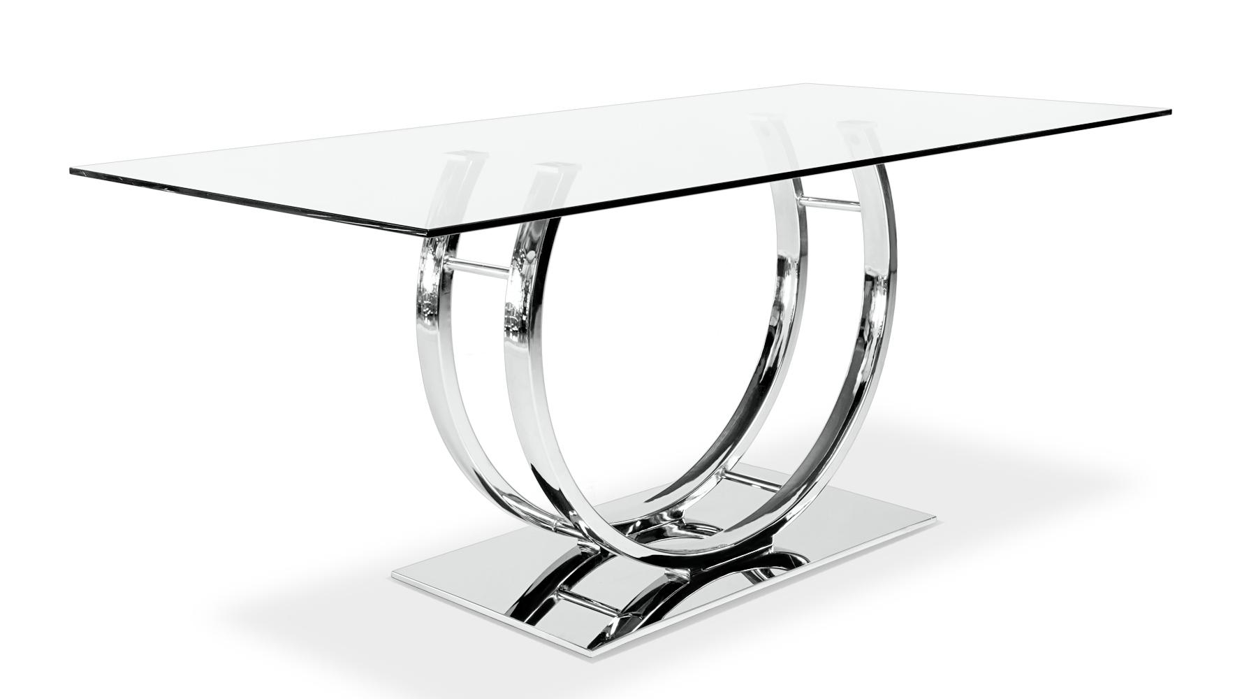 Palazzo Glass Modern Dining Table With Polished Chrome Base | Zuri Inside Chrome Sofa Tables (Image 15 of 20)