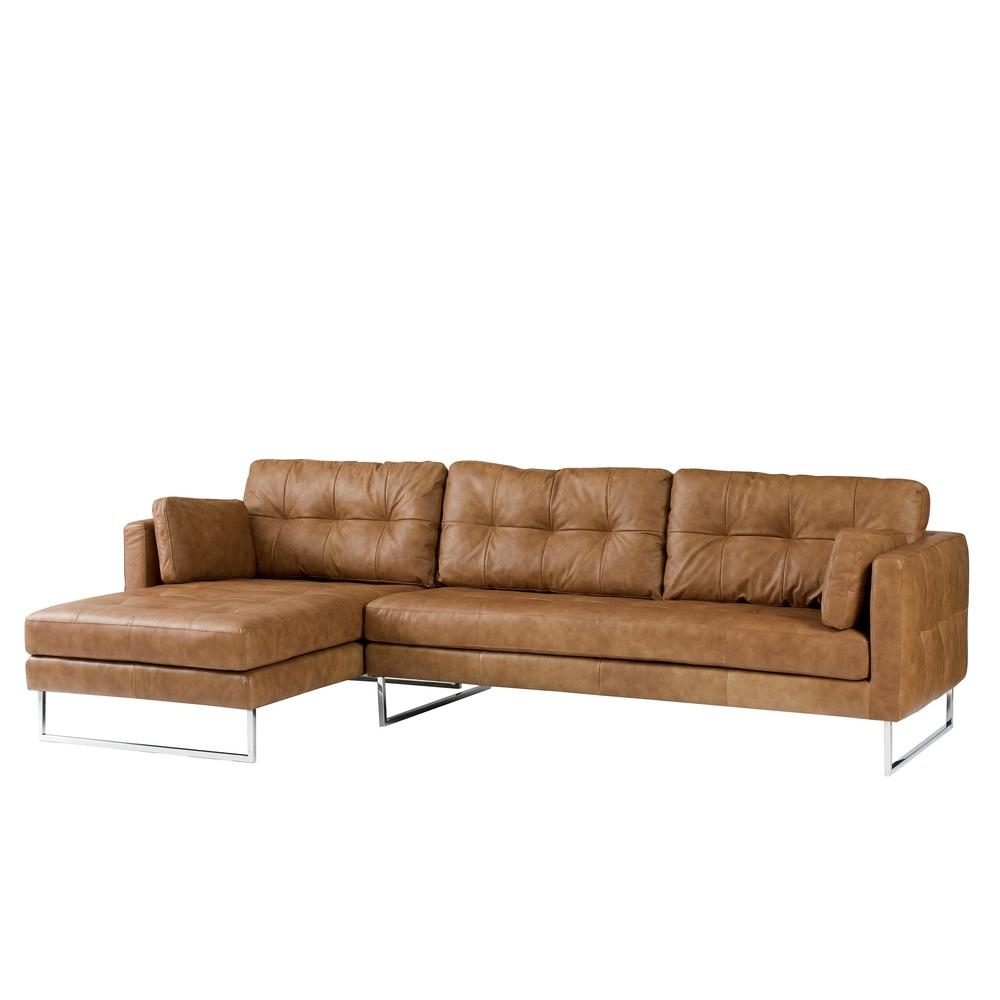 Paris Leather Left Hand Corner Sofa Tan – Dwell Pertaining To Light Tan Leather Sofas (Image 13 of 20)