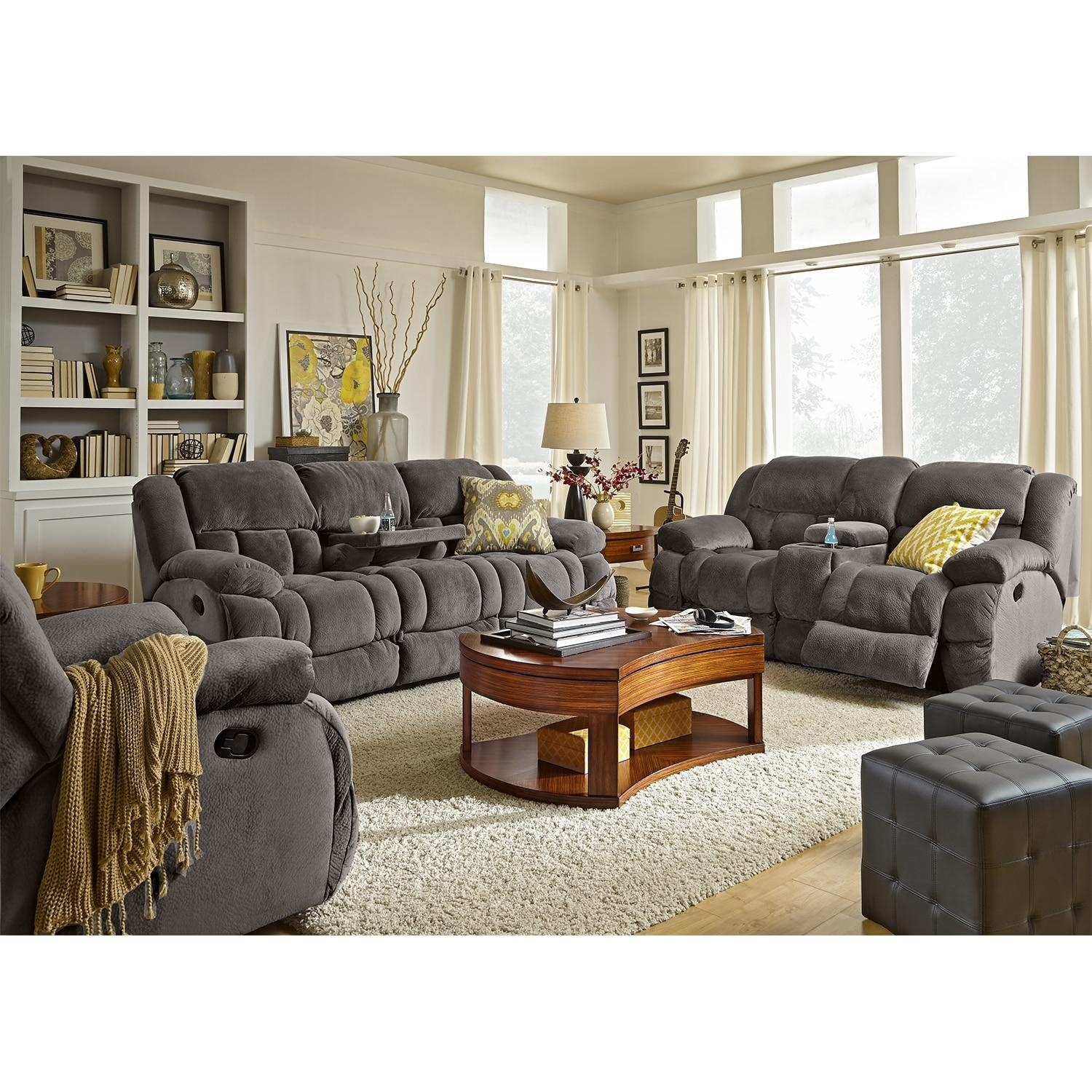 Park City Dual Reclining Sofa And Loveseat Set – Gray | Value City Throughout Reclining Sofas And Loveseats Sets (Image 12 of 20)