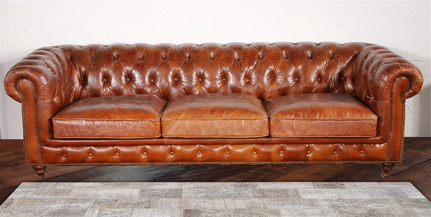 Pasargad Chester Bay Tufted Genuine Leather Chesterfield Sofa In Leather Chesterfield Sofas (Image 13 of 20)
