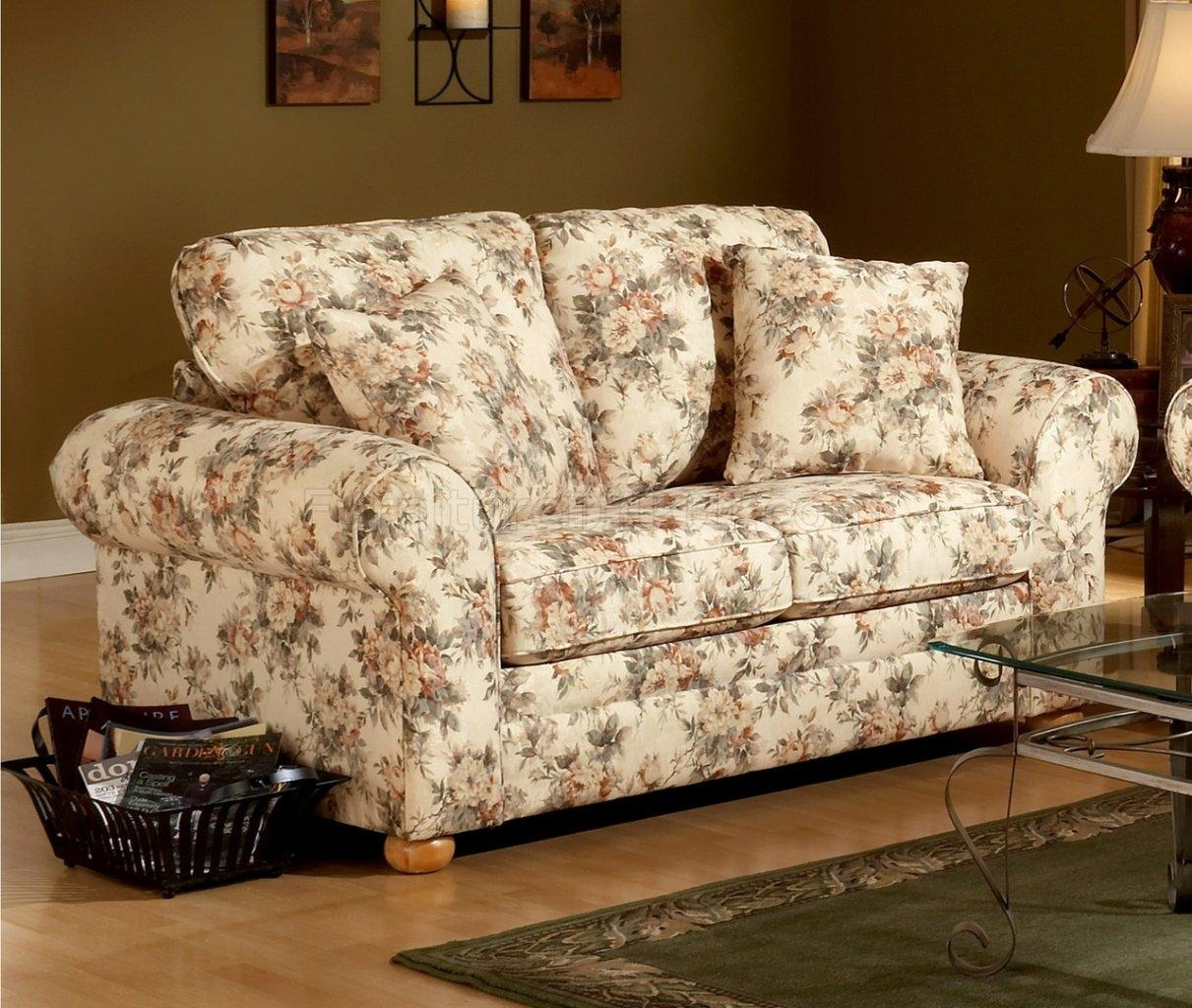 Pattern Fabric Traditional Sofa & Loveseat Set For Floral Sofas And Chairs (Image 16 of 20)