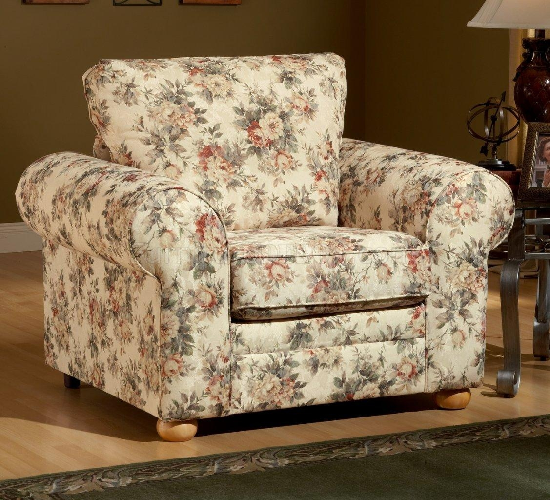 Pattern Fabric Traditional Sofa & Loveseat Set For Floral Sofas And Chairs (View 5 of 20)