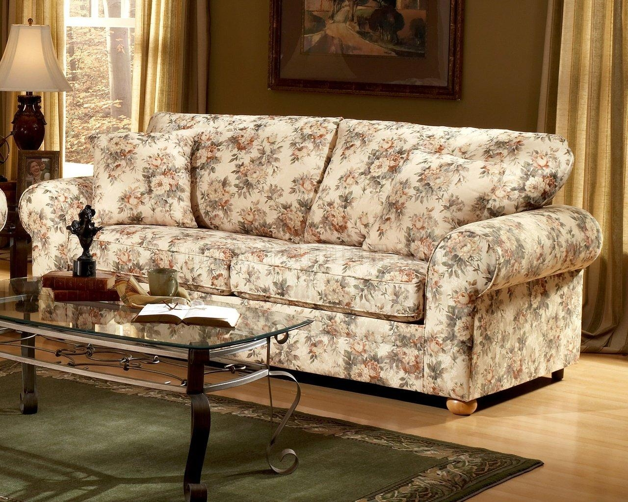 Pattern Fabric Traditional Sofa & Loveseat Set In Floral Sofas And Chairs (View 2 of 20)
